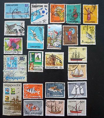 SINGAPORE  GREAT MIXED LOT of 23 different STAMPS  used  fish ships & more!