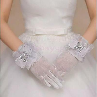 Ladies White Evening Short Gloves Wedding Bridal Gloves Wrist Length