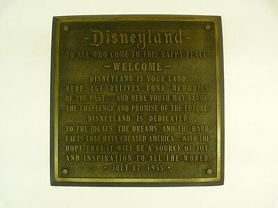 Disneyland Dedication Plaque walt disney world.opening day