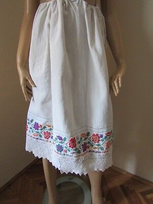Antique hand woven and hand embroidered Traditional Romanian skirt with lace