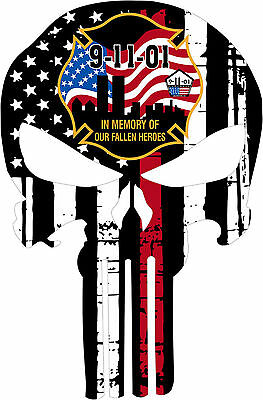 Punisher Skull Never Forget 911 Window Decal - Various sizes Free Ship