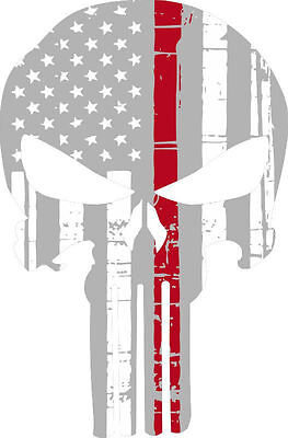 Punisher Skull Sliver/Red Flag Window Decal - Various sizes Free Ship