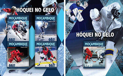 Ice Hockey Sports Mozambique MNH stamp set 2 sheets