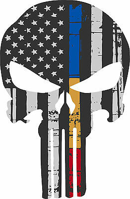 Punisher Skull Police Dispatch Fire Flag Window Decal - Various sizes Free Ship