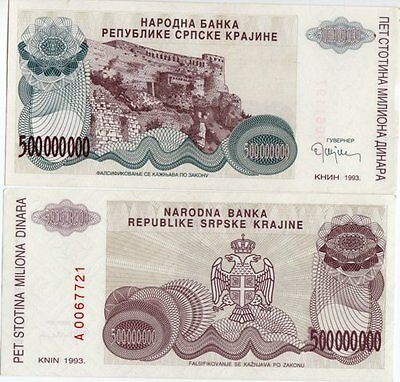 "Croatia 4 Pc Regional ""knin Fortress"" 1993 Banknote Set"