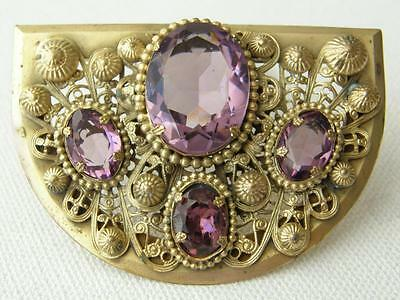 Stunning Vintage 1930's Brass Gilt Faux Amethyst Ornate Dress Clip