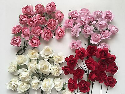 15pcs Mulberry Paper Rose Flower 2cm Card making/Embelishments