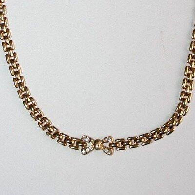 VINTAGE c1950s PAVE CRYSTAL BOW & GOLD PLATED PANTHER-LINK NECKLACE