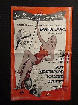 "1955 AN ALLIGATOR NAMED DAISY Pressbook VG+ 4.5 Diana Dors 11x17"" 8pgs"