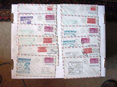 Group Of 12 US Air Mail First Flight Covers w/ Cancels 1949-1950 Stamps +Fine/VF