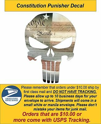 Punisher Skull Constitution Flag Window Decal - Various sizes Free Ship