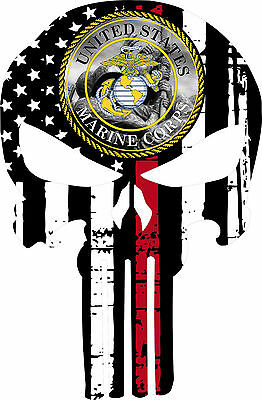 Punisher Skull Marine Corps V3 Flag Window Decal - Various sizes Free Ship