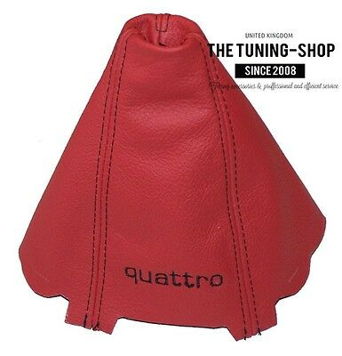FOR AUDI A4 B6 01-04 GEAR GAITER RED LEATHER EMBROIDERY QUATTRO Black Stitching