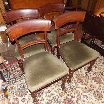 Antique Regency set of 4 Trafalgar dining chairs green upholstery - TLC wobbly