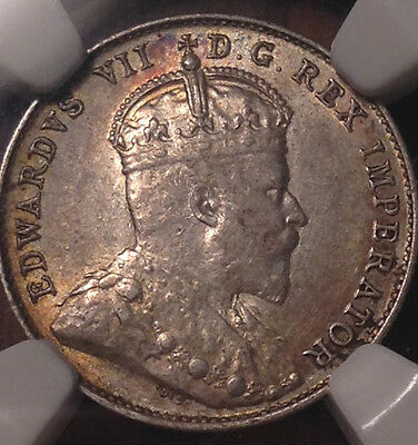 1903H Canada Silver 10 Cents Dime Certified Ngc Au-55 Near Unc