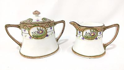 Vintage Nippon Hand Painted Beaded Creamer & Double Handled Covered Sugar Bowl