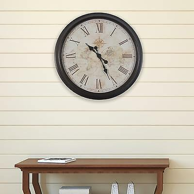 """Large Antique Map Round Wall Clock w/Roman Numerals, Easy To Read, 30"""" Diameter"""