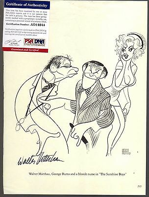 Walter Matthau Signed Auto 8X10 Hirschfeld Drawing W/ Psa Dna Sunshine Boys