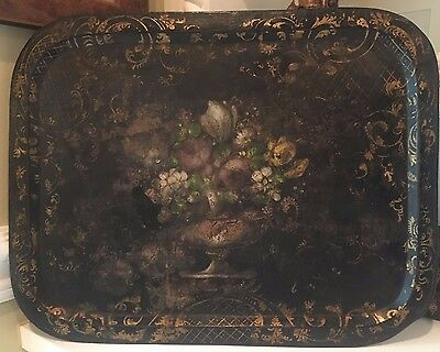 Extra Large 18th C. Antique French Tole Floral Urn Painted Tin Tray