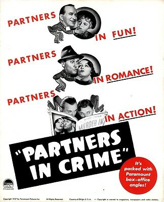 PARTNERS IN CRIME pressbook, Lynne Overman, Roscoe Carns, Muriel Hutchinson 1937