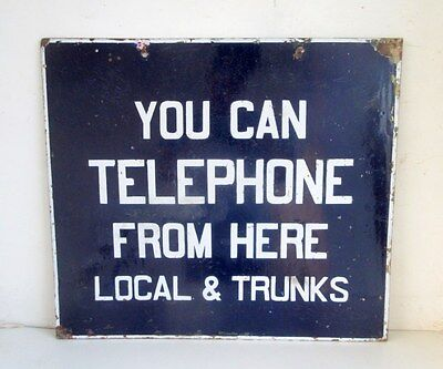 Antique Old Rare Telephone Local Trunks Call Here Ad Porcelain Enamel Sign Board