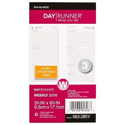 Day Runner Weekly Planner Refill 2016, 3.5 x 6.75 Inches Page Size 063-285Y-16