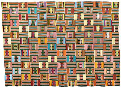Old Rare African Kente Ewe Volta Ghana Hand Woven Cloth Textile Home Decoration