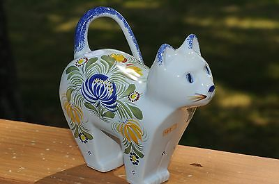 Vintage French FIGURAL CAT  FIGURINE by Quimper--Double Signed