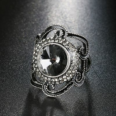 Hollow Black Enamel Gray Glass Crystal Big Flower Ring Ancient Silver Color