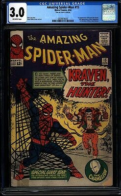 Amazing Spider-man 15 CGC 3.0 OW Silver Key Marvel 1st Kraven Hunter L@@K IGKC