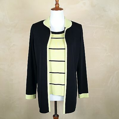 Exclusively Missook TwinSet Green Black Sleeveless Striped Shirt & LS Cardigan S
