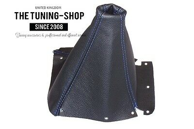 Fits Nissan Skyline R33 Gtr Gts 1993-1998 Black Leather Gear Boot Blue Stitching