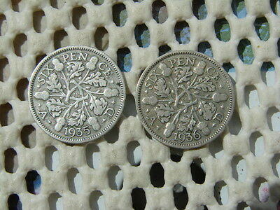 George V. silver SIXPENCE 1935 & 1936.