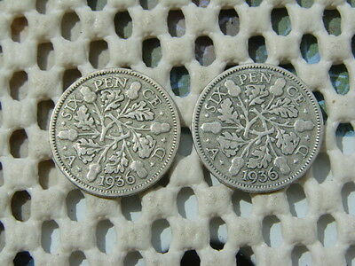 George V. silver SIXPENCE 1936 x2.