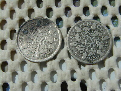 George V. silver SIXPENCE 1930 x2.