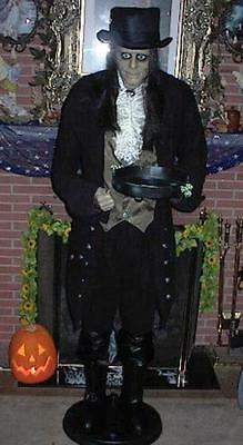 ANIMATED LIFE SIZE TALKING 6 FOOT JEEVES THE BUTLER HALLOWEEN PROP FIGURE LooK