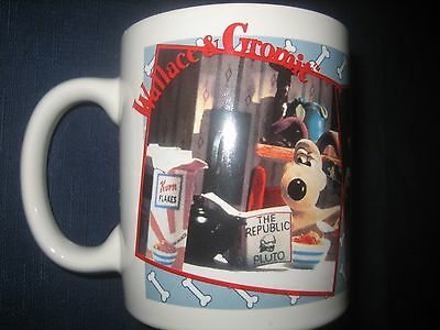 Vtg Wallace & Gromit Coffee Mug Cup Breakfast While Reading Pluto 1989 XLENT Tea