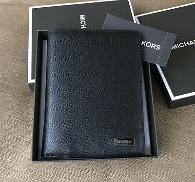 Michael Kors Men's Andy Saffiano Black Leather Passport Card Holder