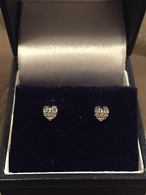 9ct White Gold Heart Diamond Cluster Stud Earrings