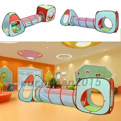 3 In 1 Kid Tunnel Tent Baby Toy Play Game House Outdoor Tents Birthday Gift