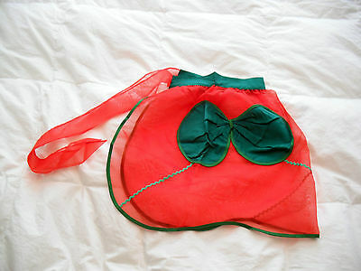 Vintage Christmas Hostess Apron With Bow Pocket
