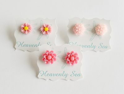3 Pairs of Assorted Cute Pink Flower Floral Resin Earring Set