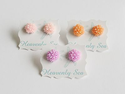 3 Pairs of Assorted Flower Floral Resin Earring Set