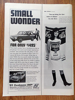 1965 Sunbeam IMP Sports Sedan by Rootes England Ad For only $1495 Small Wonder