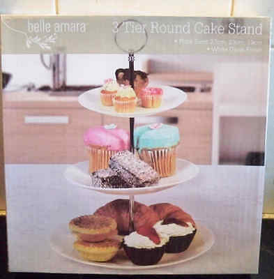 3 tier Round Cake Stand with White Gloss Finish Plates