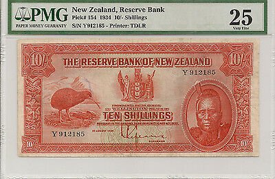 P-154 1934 10 Shillings, New Zealand Reserve Bank, PMG Very Fine 25, Nice Color!