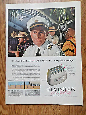 1956 Remington Rollectric Shaver Ad  Airlines Pilot PAA Pan American Clipper