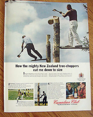 1966 Canadian Club Whiskey Ad New Zealand Tree-Choppers 1966 Coca-Cola Ad