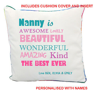 Nanny Mothers Day White Cushion Cover & Insert Personalised Names Gift Present