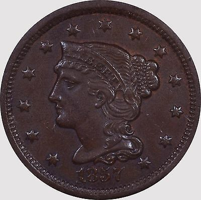 1857 Small Date Braided Hair Large Cent N-2 AU NGC -- Tooled